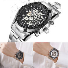 NEW Black White Men Skeleton Stainless Steel Automatic Mechanical Wrist Watch