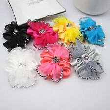 Organza Fashion Women Rhinestone Crystal Color Flower Shoe Clips Charms Pair