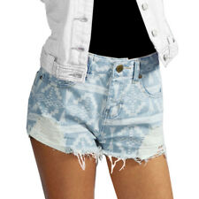 Frayed Raw Edge Laser Aztec Print Womens Blue Denim Hot Pant Shorts Size  Womens