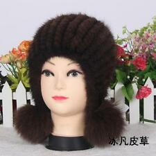 Genuine Real mink Knitted Fur hat with ball Women's Winter warm Russian fur hat