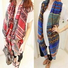 Lady Red Vintage Women Long Soft Cotton Voile Print Scarves Shawl Wrap Scarf RF