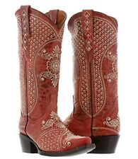 Womens Distressed Red Leather Studded Cowboy Cowgirl Boots Wedding Rhinestones