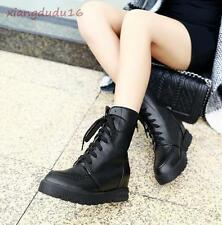 Ladies White/Black Faux leather Lace-up Platform wedge Med-heels Ankle Boots