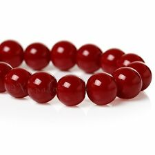 Burgundy Red Wholesale 8mm Round Glass Beads G1739 - 50, 100 Or 200PCs