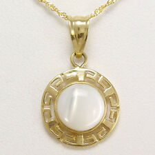 14k Solid Yellow Gold Mother of Pearl Greek Design Necklace