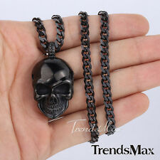 Mens Chain Silver Black Curb Link Stainless Steel Skull Pendant Necklace 22inch