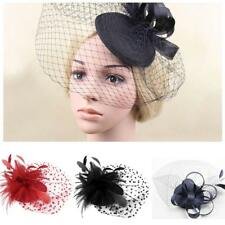 large women lady bridal fascinator feather Flower hair clip hat accessories