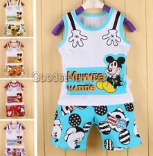 Baby Boy Kids Toddler Mickey Mouse Top T Shirt Vest Pants Shorts Outfit Clothes