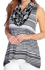 NEW - One World Striped Knit Scoop Neck Tank Top & Printed Woven Infinity Scarf