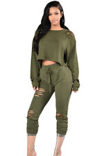 Sexy Women 2PCS Olive Green Savage Distressed  Bodycon Club Wear  Set Pants