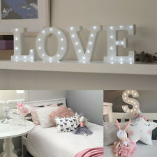LED Wooden Marquee Letter Lights Vintage Alphabet Symbo Light Up Sign A - Z Deco