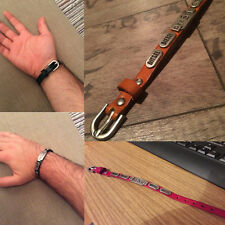 Unisex Xmas Alloy Genuine Leather Bracelet Punk Belt Wristband Adjustable Bangle