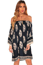 Charming Navy Blue Boho Print Off Shoulder Swing Club Bodycon Sexy Women Dress