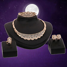 Women Golden Tone Necklace Earrings Bracelet Ring Luxury Jewelry Set Beamy