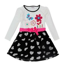 Girls Pretty Party Dress Age 18 24 2 3 4 5 Kids Hearts Pink Ribbon Belt Clothes