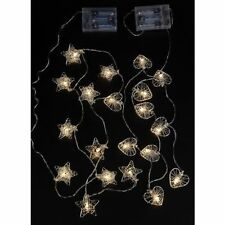 SHABBY CHIC WIRE HEART OR STARS LIGHT UP GARLAND STRING DECORATION LIGHTS