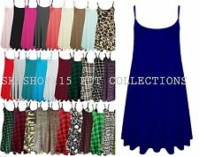 Ladies Long Camisole Cami Plain Strappy Swing Vest Top Flared Sleeveless cmiLn