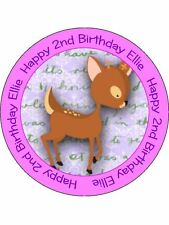 30-90 PRE-CUT PERSONALISED EDIBLE WAFER CUP CAKE TOPPERS BAMBI WOODLAND FRIENDS