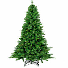 5FT/6FT/7FT Tall Green Artificial Christmas Tree Festive Xmas Pine Tips Metal St