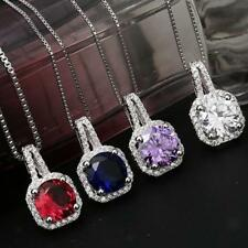 Fashion Large Square Zircon Ruby Sapphire Charm Pendant Crystal Necklace DIY