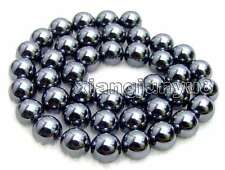 "SALE 10mm Super Luster Round High Quality Black Hematite beads strand 15""-los459"