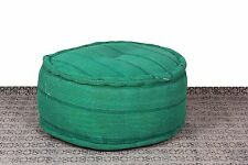 Vintage Superb Ottoman 24'' Green Kantha Cotton Made Pouf Indian Pouffe Cover