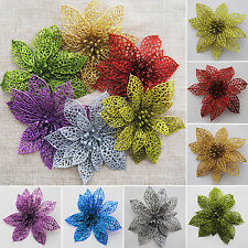 10Pcs Christmas Flowers Xmas Tree Decorations Glitter Hollow Wedding Party Decor