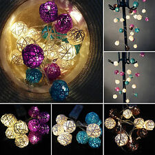 Rattan Wicker Ball Battery Fairy String Light Party Christmas Xmas Wedding Decor