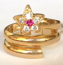 Gold Plated Simulated Ruby Star Ring Band Wrap Red Cubic Zirconia Size 5 9 USA