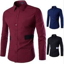 Men Spring fall modern stylish shirts long sleeves casual solid shirt no pockets