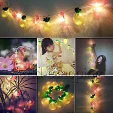 10LED Flamingo / Pineapple Fairy String Lights Battery Operated Xmas Party Bulbs