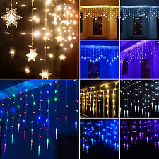 Icicle Hanging Snowflake String Fairy Lights Curtain Xmas Wedding Party Lamp Led
