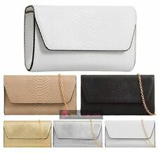 NEW ANIMAL PRINT SNAKESKIN CROC FAUX LEATHER CHAIN STRAP CLUTCH BAG PURSE