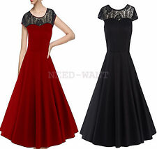 Women's 1950s Vintage Style Retro Evening Party Swing Rockbilly Lace Tea Dress