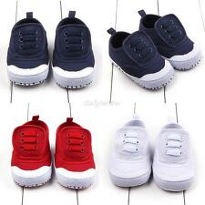Newborn Toddler Baby Boy Girl Infant Canvas Kids Soft Sole Crib Shoes Prewalker