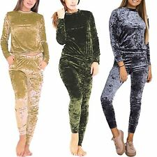 New Ladies Womens Velour Crushed Co-ordinate Lounge Wear Jogger Tracksuit SET