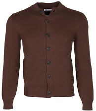 Brunello Cucinelli Men's Brown 100% Cotton Bomber With Buttons Cardigan Sweater