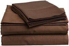 6 Piece Luxurious Bed Sheet Set 1200 TC Egyptian Cotton Chocolate Solid