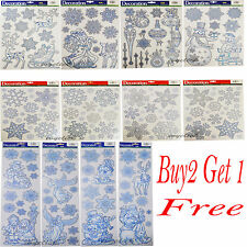 Christmas Window Stickers Large & Small Sparkly Glitter Xmas Decoration Gift New