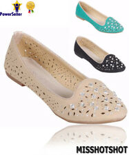 New Womens Ballerinas Dolly Ballet Pumps Ladies Studded Flat Shoes Size Uk 3-8