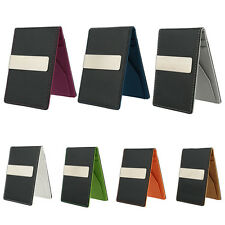 Mens Faux Leather Silver Money Clip Slim Wallets ID Credit Card Holder Purse Top