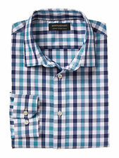 Banana Republic Men's Tailored Slim Fit Non-Iron Teal Shirt in Teal Plaid Size M