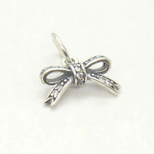 Authentic Genuine Sterling Silver SPARKLING BOW PENDANT Clear CZ Charm