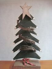 Wood Christmas Tree w/ Grapevine Hand Made Primitive Rustic Country Wooden Decor