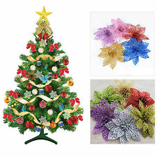 1/10PCS Plastic Christmas Glitter Sparkle Poinsettia Flower Tree Decoration 15cm