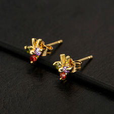 Lovely Children 14K Gold Plated Champagne Clear 3 CZ Cute Bee Stud Earrings