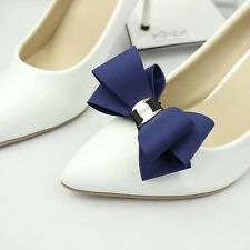 Simple Fashion Color Black White Red Blue Plastic Bow Shoe Clips Pair