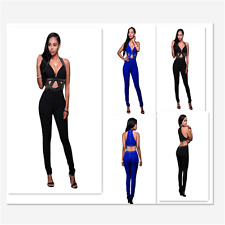 Jeweled Cut-out Clubwear V-neck Slit Bandage Sleeveless Women Jumpsuit Bodysuit