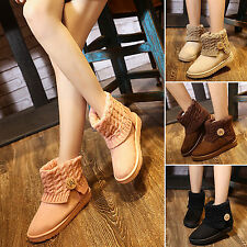 Women's Suede Thicken Ankle Snow Boots Winter Warm Short Knit Booties Flat Shoes