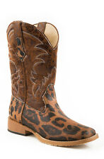 Roper Womens Sq Toe Brown Faux Leather Leopard Canvas Western Cowboy Boots